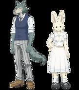 Artwork of characters Legosi and Haru