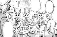 Legoshi cena con la familia de Hal (Manga)