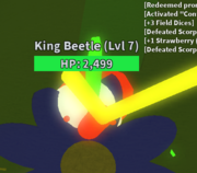 King beetle stuck in flower
