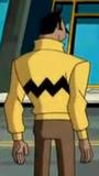 Personagem com casaco semelhante à camisa de Charlie Brown.