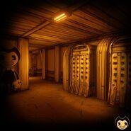 Corridor behind attraction storage