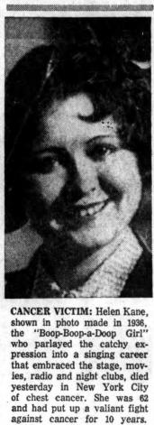 Helen Kane Death Cancer 1960s.png
