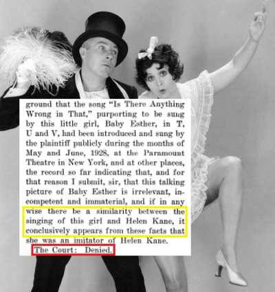 Helen Kane Impersonator NOPE Actual Lawsuit Document Clipping.png