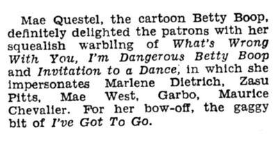 Mae Questel Impersonates Mae West Greta Garbo Maurice Chevalier ZaSu Pitts 1937.jpg