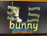 """Announcer Bunny loves the word """"bunny"""""""