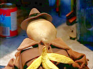 Sam spud slipped on a banana