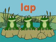 Frog Word Morph sip, slip, slap, lap