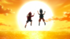 Burst Surge E1 - Hikaru and Hyuga Jumping Into the Sunset