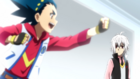 Shu being reminded by valt of the fun of beyblade ep 34