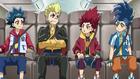 Burst Surge E4 - Hikaru, Hyuga, Valt, and Rantaro on a Plane to Spain