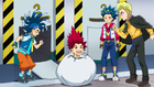 Burst Surge E11 - Hikaru, Valt, and Rantaro Finding Hyuga in the Trash