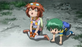 Totally exhausted Madoka and Kenta