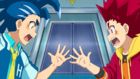 Burst Surge E1 - Hikaru and Hyuga Playing Rock, Paper, Scissors to Decide Who Gets to Battle Valt First