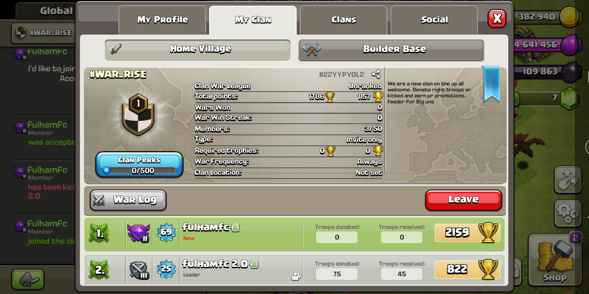 Join pls it is up and coming new clan when you put a request say ur from Fandom and I'll give u co