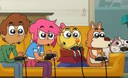 Everyone except Mouse engaged on playing video games