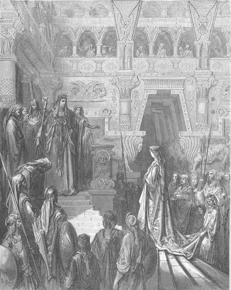 Dore 14 2Chron09 Solomon Receives the Queen of Sheba.jpg