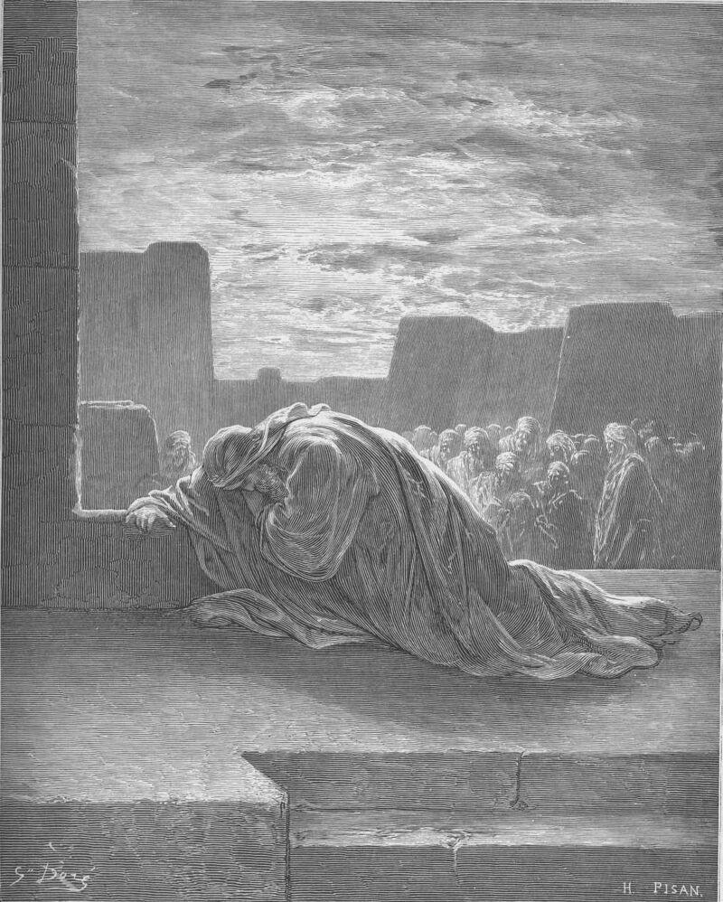 Dore 15 Ezra09 Ezra Kneels in Prayer.jpg