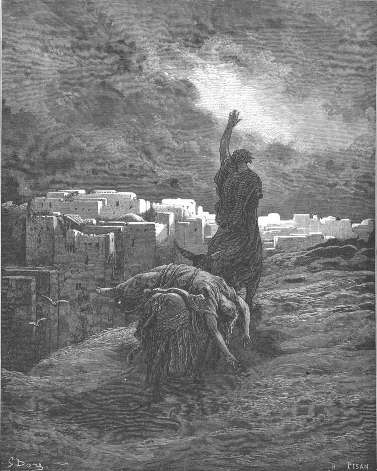 Dore 07 Judg19 The Levite Carries the Woman's Body Away.jpg