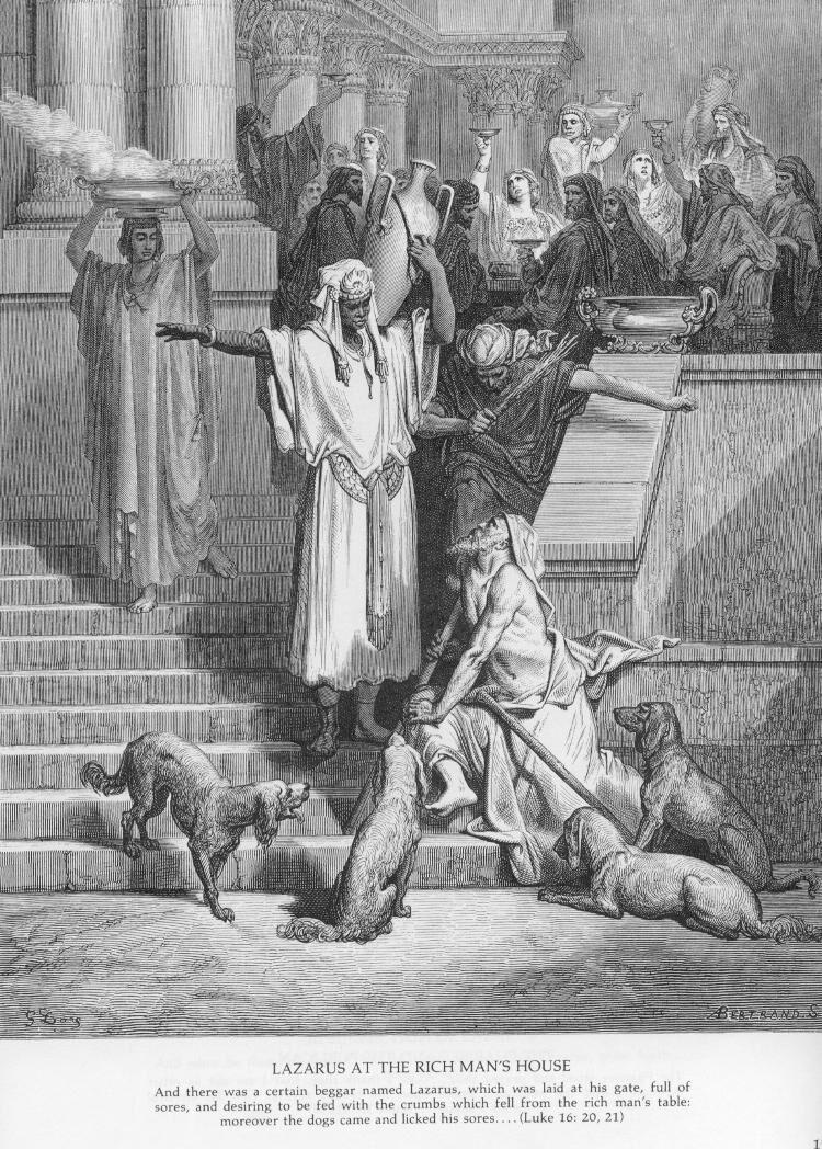 Luke16a Lazarus at the Rich Man's House.jpg