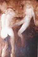 El descanso - (SERIE MUJERES DE PIEL DE SOMBRA). Acrílico sobre tela 122 x76.5 cm. (Año 1985).-
