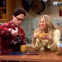 The Einstein Approximation - Leonard and Penny drinking morning coffee.jpg