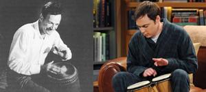 Feynman and Sheldon playing the bongos.png