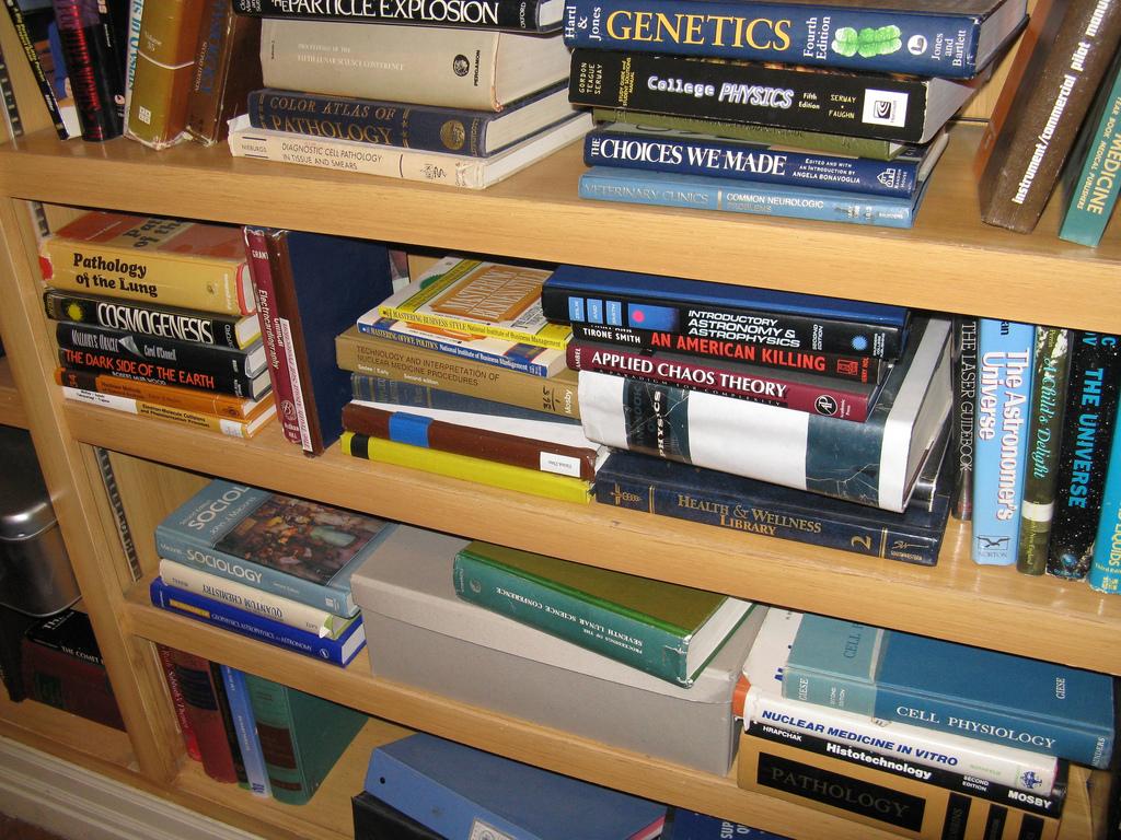 List of books visible on shelves