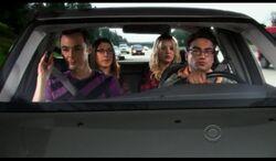 Amy, Penny, Sheldon, and Leonard in car.jpg