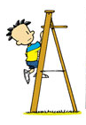 Nate climbing up a ladder