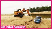 Trucks_for_children_Excavator_CAT_working_into_water_with_Truck,_Dump_Truck_Videos_for_Kids