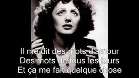 Edith Piaf -La vie en rose with lyrics