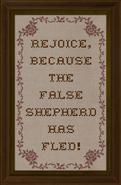 Cross-stitch Rejoice Because the False Shepherd has Fled