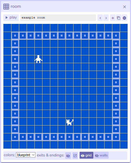 Room panel from Bitsy interface, version 7.1