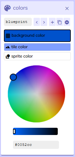 Colors panel from Bitsy interface, version 7.1
