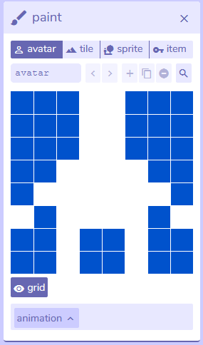 paint panel from Bitsy interface, version 7.1