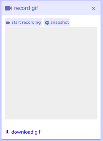 record gif panel from Bitsy interface, version 7.1