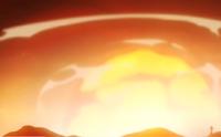 Feitiço de bola de fogo gigante sem nome-destruição causada