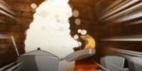 Ovelha cozinheira preparando refeição