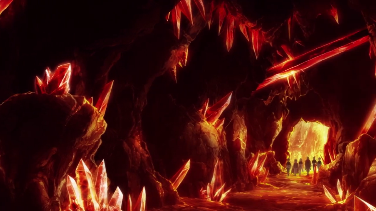 Magic Knights enter volcano dungeon.png