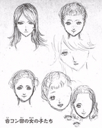 Rebecca, Erika, Helene concepto inicial (cabezas)