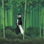 Kenpachi and Yachiru walk through bamboo forest.png