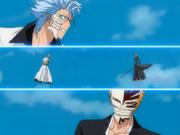 Grimmjow surpreso pela máscara Hollow de Ichigo