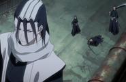 The real Byakuya and Renji arrive to save Ichigo and Rukia
