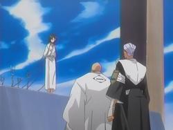 Yamamoto dan Chojiro di tempat eksekusi Rukia.png