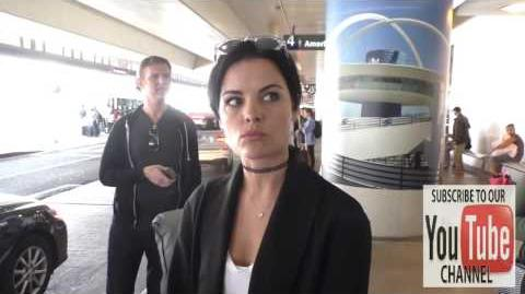 Jaimie Alexander talks about social scavenger hunt while arriving at LAX Airport in Los Angeles