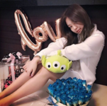 Jennie on her birthday with her presents