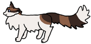 A digital side-view drawing of a long-hair bicolour tabby cat.