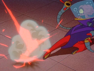 13 is nearly hit by Zurg's laser beam eyes.