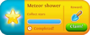 Meteor shower event completed tab