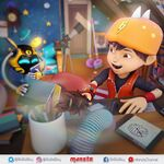 Ochobot and BoBoiBoy cleaning the room